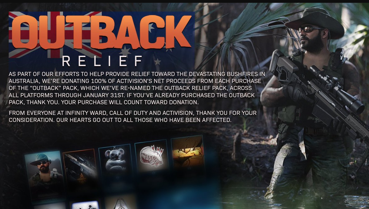Activision raises top $1.6m through the sale of a special COD pack for the Australian bushfire relief
